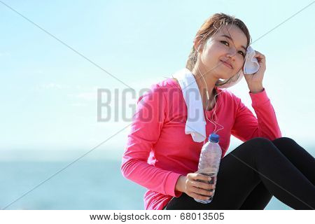 Fitness Woman Have A Break