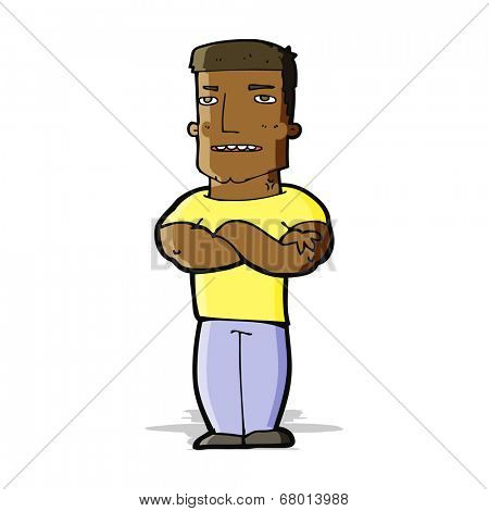cartoon tough guy with folded arms