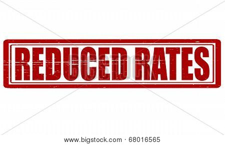 Stamp with text reduced rates inside vector illustration