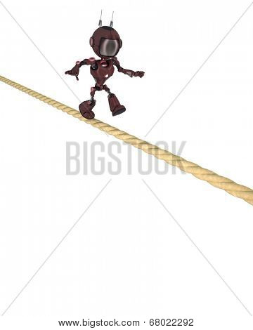 3D Render of an Android on a tight rope