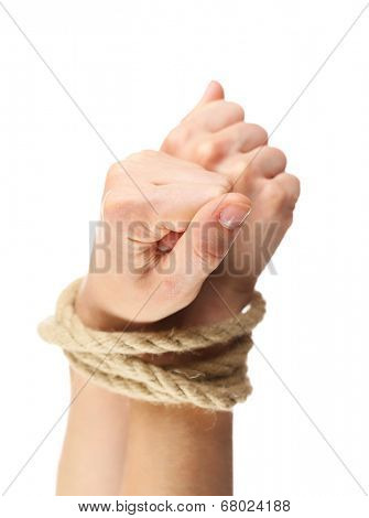 Tied hands, isolated  white