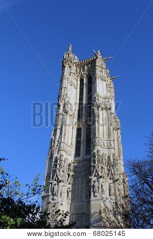 PARIS, FRANCE - NOV 06, 2012: St-Jacques Tower is 52-meters (171 ft) Flamboyant Gothic tower is all that remains of the former 16th-century Church of Saint-Jacques-de-la-Boucherie