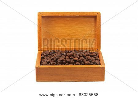 Coffee Beans In The Old Box Isolated
