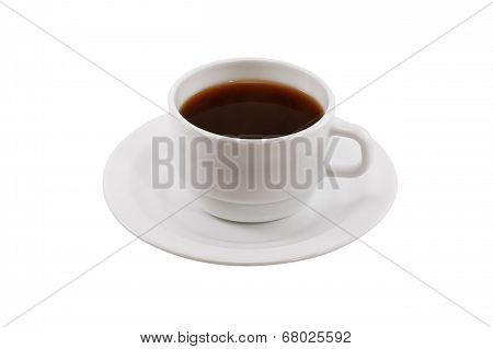 White Coffee Cup And Saucer Isolated