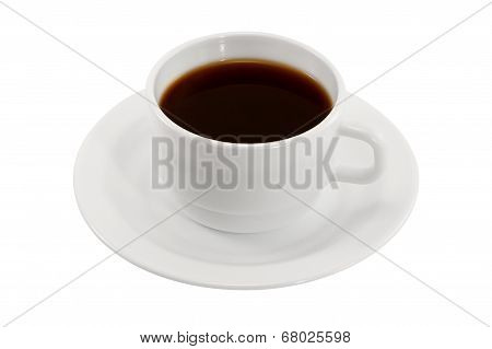 White Cup Of Coffee On A Saucer Isolated