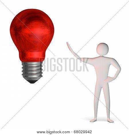 3D Man And Weird Red Light Bulb
