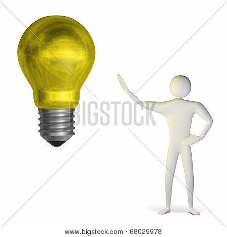 3D Man And Weird Yellow Light Bulb