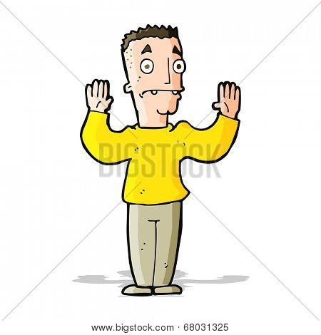 cartoon man surrendering