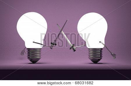 Glowing Light Bulbs Fighting Duel On Violet
