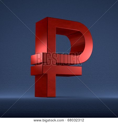Red Russian Rouble Sign On Blue