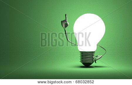 Light Bulb With Big Hands In Moment Of Insight On Green