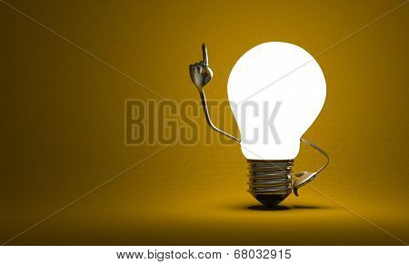 Light Bulb With Big Hands In Moment Of Insight On Yellow