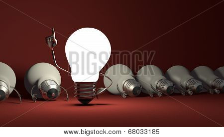 Light Bulb Character, Aha Moment  On Red