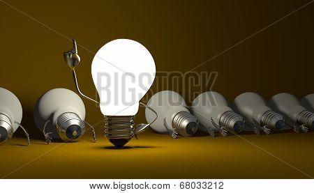 Light Bulb Character, Aha Moment  On Yellow
