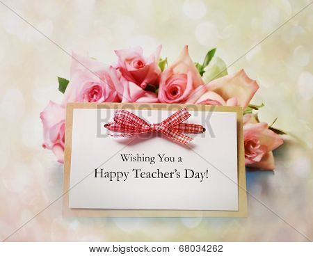 Teachers Day Message With Pink Roses