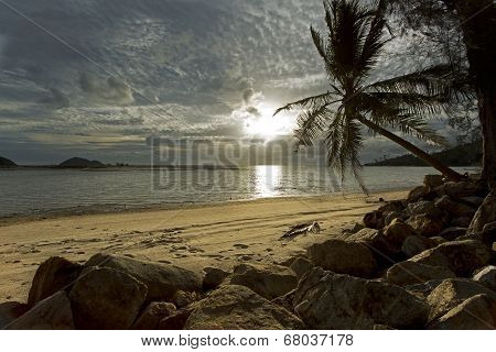 Sunset over a sandy beach