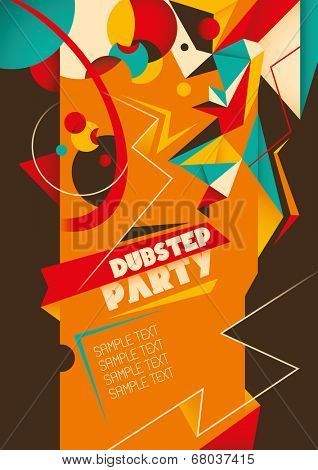 Dub step party poster. Vector illustration.