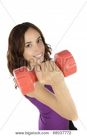 Smiling Fitness Woman With Dumbbells
