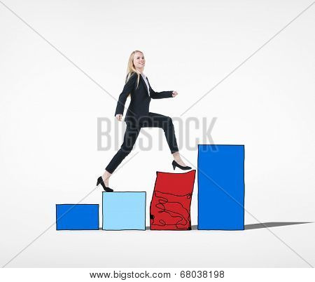 Businesswoman Conquering Adversity Concept