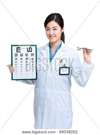 Woman doctor with eye chart and glasses