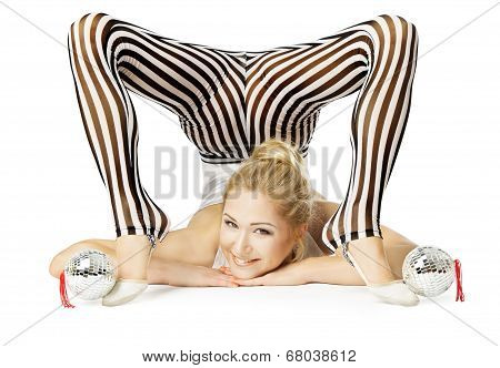 Gymnast Woman Flexible Body Upside Down, Isolated White Background