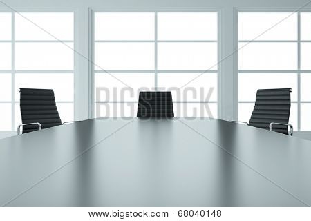 Empty business meeting room with table and chairs