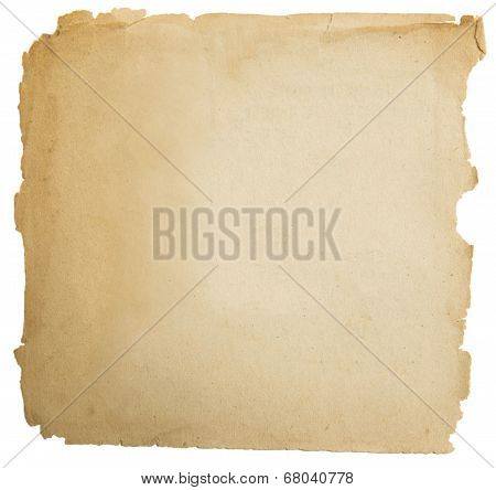 Old Paper Grunge Texture, Empty Yellow Page Isolated On White Background