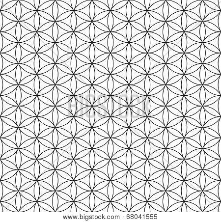 Seamless op art texture. Circles and hexagons pattern. Vector art.