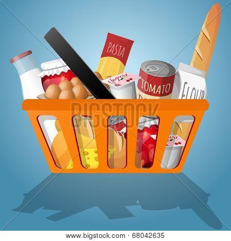 Food in shopping basket