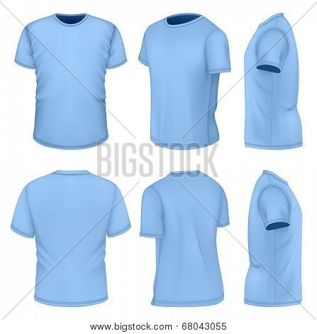 All six views men's blue short sleeve t-shirt design templates. Photo-realistic vector illustration. Illustration contains gradient mesh.