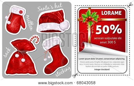 Sale Christmas sticker with traditional decorations. Christmas traditional symbols. Vector illustration.