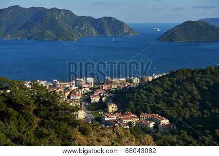 MARMARIS, TURKEY - APRIL 17, 2014: Aerial view to the bay of Marmaris. Marmaris population increases 10 times during the tourism season, and its nightlife rivals anything on the Turkish coast
