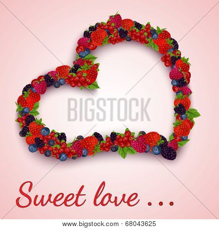 Berries heart emblem