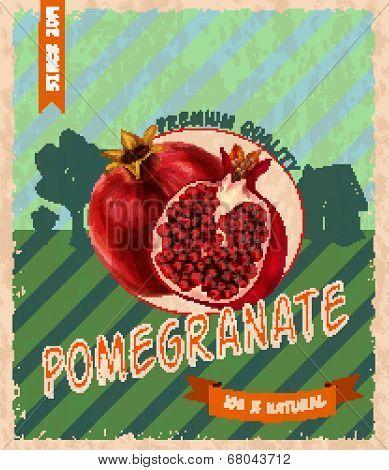 Pomegranate retro poster