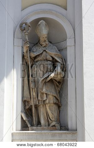 PARMA, ITALY - MAY 01, 2014: Saint Blaise statue, St Lucia church. Church, originally known as St. Michael in the Channel is mentioned in documents in 1223, built in 1615 and dedicated to St. Lucia