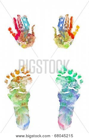 Photo of colorful foot and hand prints of a baby