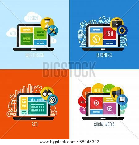 Modern Flat Vector Concepts Of Web Design, Business, Social Media, Seo. Design Elements Set For Webs