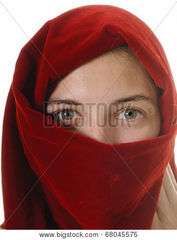 petty young girl wearing a headscarf around face, isolated on white