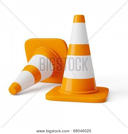 Orange highway traffic construction cones with white stripes isolated on white