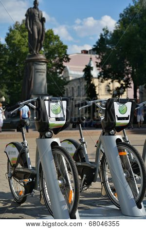 MOSCOW, RUSSIA - JULY 1, 2014: New bike rental system sponsored by Sberbank. The project aimed to create alternative to a car or public transport for the short-distance trips