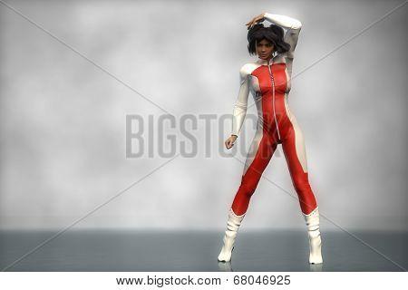 brunette asian girl in red bodysuit