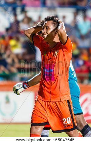 Sisaket Thailand-july 6: Tatree Seeha Of Sisaket Fc. (orange) In Action During Thai Premier League B