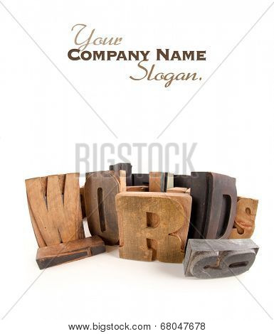 Words written among wooden typescript letters