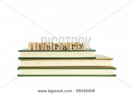 Library Word On Wood Stamps And Books