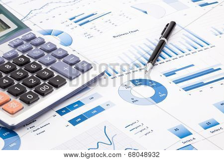 Blue Business Charts, Graphs, Information And Reports