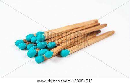 Pile Of Aqua Matchsticks