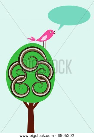 Simple vector card with cute tree and bird