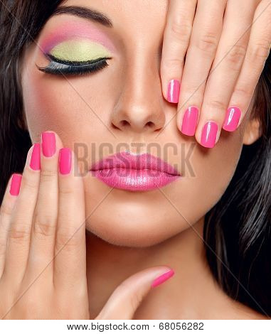 Trendy make-up and manicure
