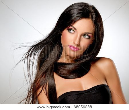 Model with flying hair and trendy makeup