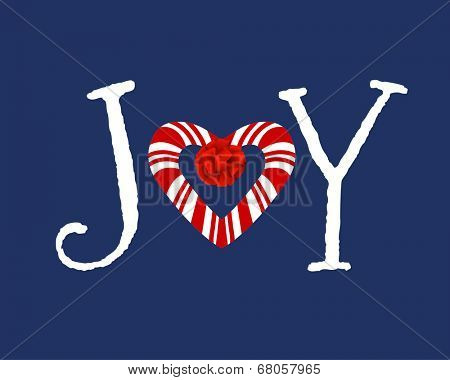 Funky Joy message candy cane heart